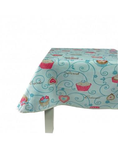 Mantel Antimanchas Cupcake turquesa