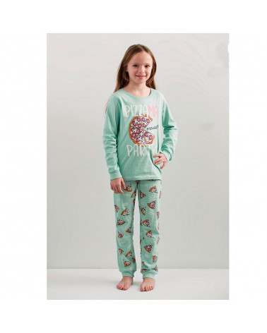 Pijama Infantil Invierno Niña Algodón Pizzama aguamarina