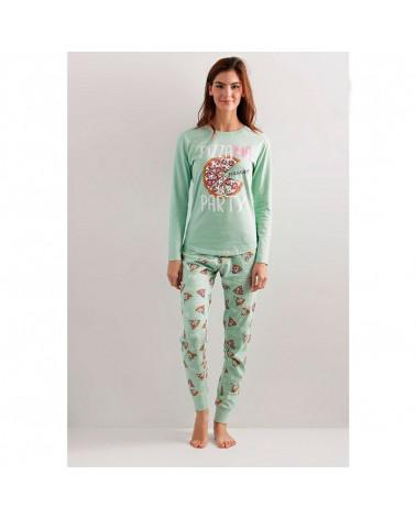 Pijama Mujer Invierno Algodón Pizzama aguamarina