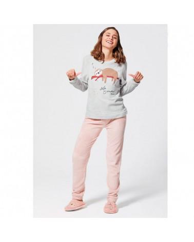 Pijama Mujer Invierno Coralina Perezoso gris