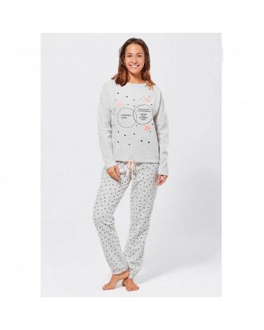 Pijama Mujer Invierno Algodón Estrellitas gris