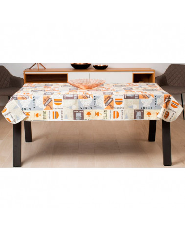 Mantel Plastificado Estampado Burger gris