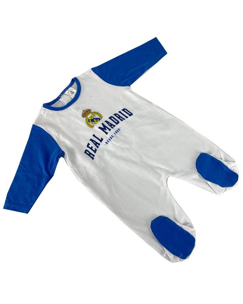 Pelele Bebé Algodón Real Madrid blanco