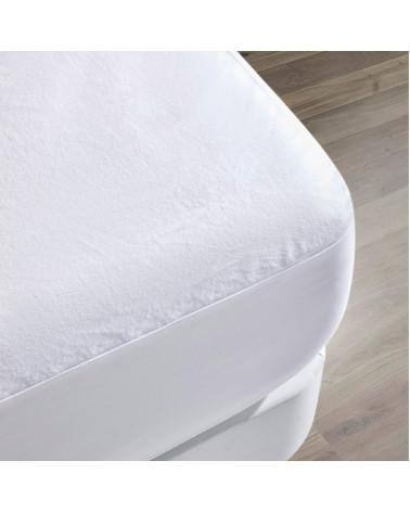 Protector Colchón Franela Impermeable Transpirable Altura 30cm blanco