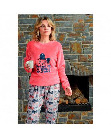 Pijama Invierno Mujer Coralina Lazo coral