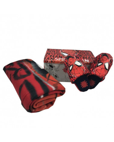 Conjunto Regalo Caja + Manta Polar + Zapatillas Spiderman