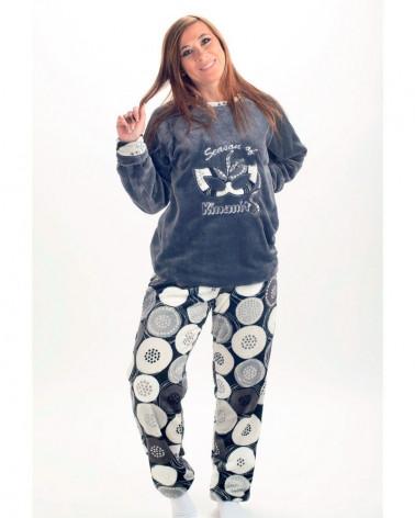 Pijama Coralina Invierno Señora Circulos gris