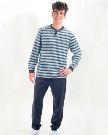 Pijama Terciopelo Invierno Listas gris