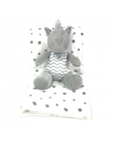 Peluche Unicornio + Manta Viaje Coralina gris